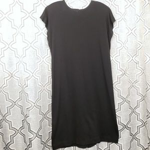 Flawless Black 80s Sheath Dress with Shoulder Pads